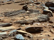 <br /> This image of an outcrop at the<br /> This image from the Mast Camera<br /> (Mastcam) on NASA&#39;s Mars rover<br /> Curiosity shows inclined layering<br /> known as cross-bedding in an<br /> outcrop called &quot;Shaler&quot; on a scale<br /> of a few tenths of meters, or<br /> decimeters (1 decimeter is nearly<br /> 4 inches).<br /> Image credit: NASA/JPL-Caltech/MSSS <br /> <a href='http://www.nasa.gov/mission_pages/msl/multimedia/pia16707.html' class='bbc_url' title='External link' rel='nofollow external'>� Full image and caption</a>
